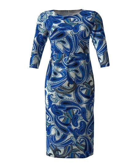 c2341f0a love this product Royal Blue & White Paisley Three-Quarter Sleeve Sheath  Dress - Women