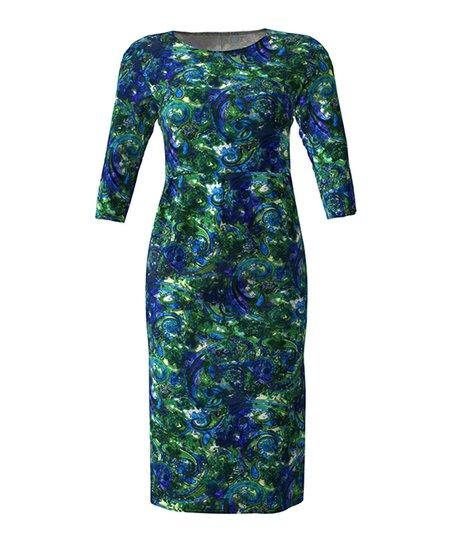 40186015 love this product Royal & Green Postmodern Paisley Three-Quarter-Sleeve  Scoop Neck Midi Sheath Dress - Women