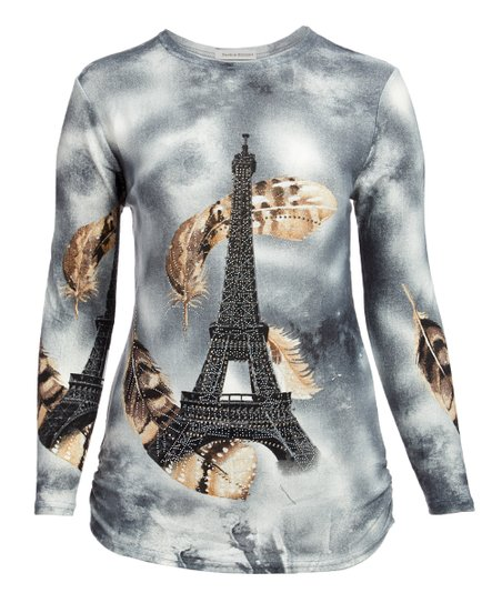 e4361fbcc23ad8 Peek-a-BOOM Gray Eiffel Tower Feather Long-Sleeve Top