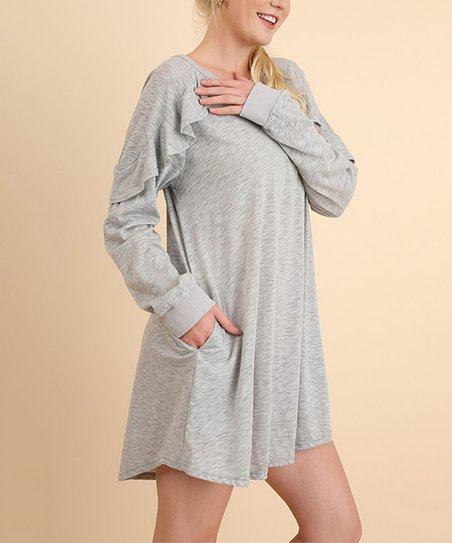 7b3bb24792abd SBS Fashion Heather Gray Ruffled Long Sleeve Pocket Dress - Women ...