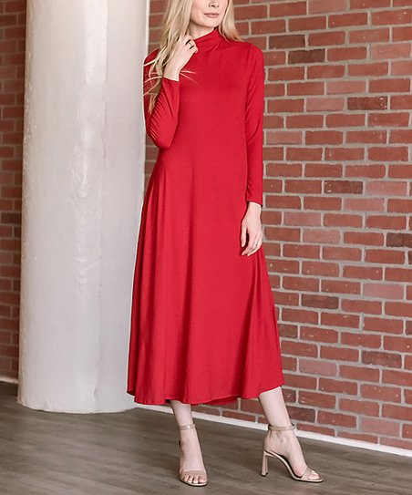 love this product Red Mock Neck Midi Dress - Women 6f87c6f733