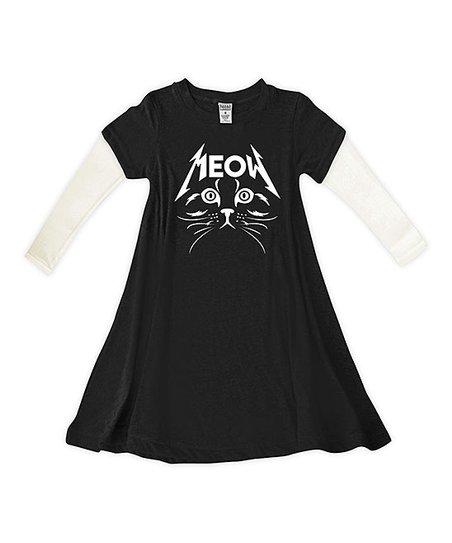 ec49d6bab3 love this product Black & Cream 'Meow' Metal Cat Vivi Dress - Toddler &  Girls