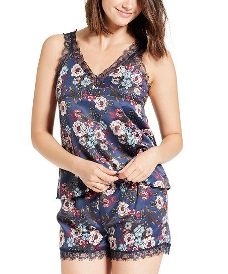 NANETTE Nanette Lepore Deep Navy Floral Sleep Shorts Set - Women ... c89c84215