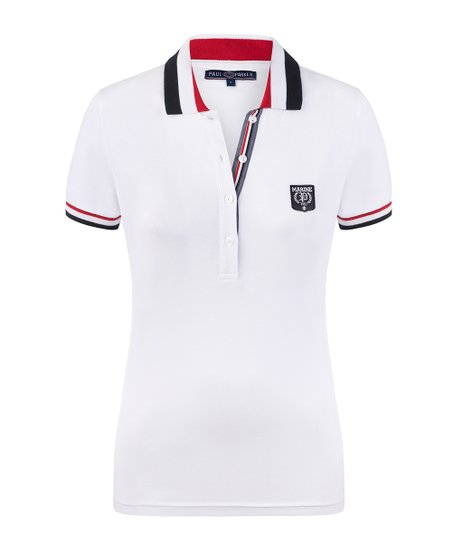 Paul Parker White Marine Logo Fitted Polo Women Zulily