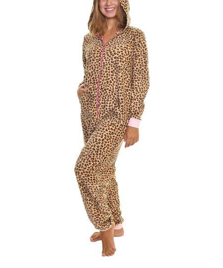 Angelina Brown Leopard Fleece Hooded One-Piece Pajamas - Women  67f16c0ec
