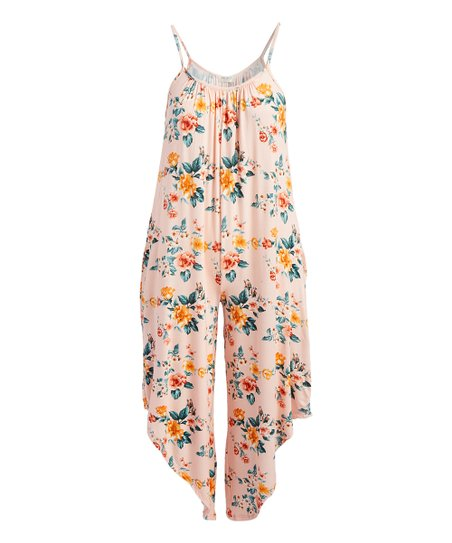 143b82426e5 love this product Peach Floral Two-Pocket Jumpsuit - Plus