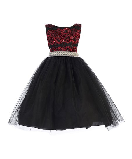 Ellie Kids Red Black Lace Pearl Sleeveless Dress Toddler Zulily
