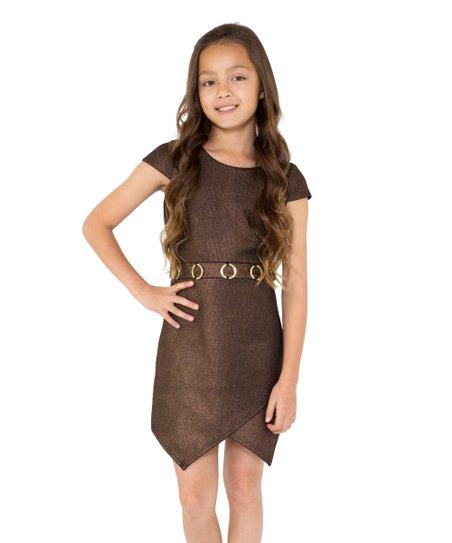 Copper Metallic Foil Crisscross Hem Sheath Dress Girls Zulily