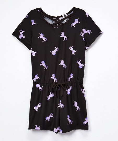 c18aaf6177e8 love this product Black   Purple Unicorn Romper - Girls
