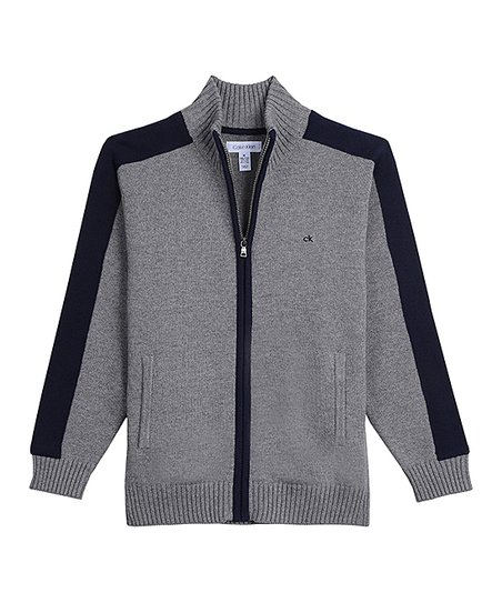 53258cf18 Calvin Klein Jeans Medium Gray Heather Color Block Full-Zip Sweater ...