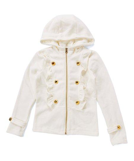 011787e88804 Chillipop Clean Ivory Ruffle Hooded Jacket - Girls