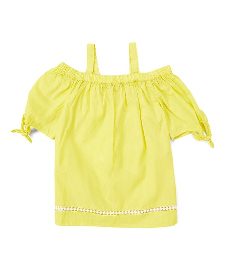 4673d059d551db love this product Yellow Daisy Tie-Sleeve Cold-Shoulder Top - Girls