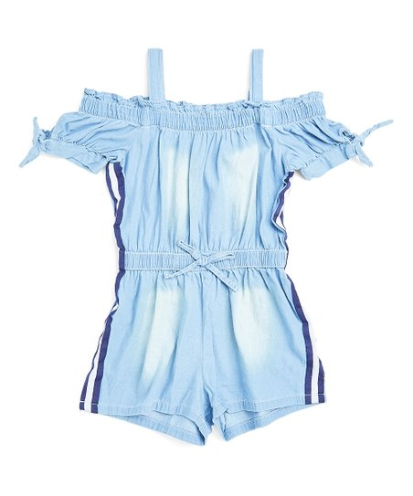 e922b84c854d love this product Denim Side-Stripe Cold-Shoulder Romper - Girls