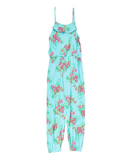 135735b1f98 love this product Sweet Aqua Floral Ruffle-Accent Jumpsuit - Girls