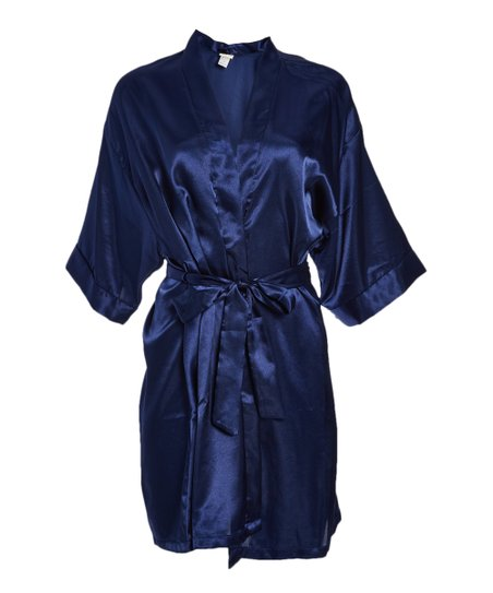 01935ad5db love this product Navy Satin Robe - Women