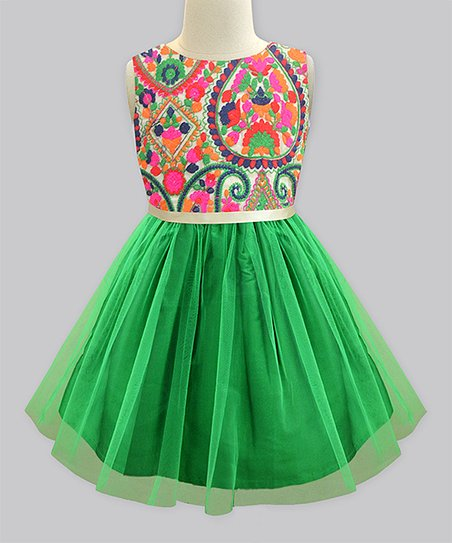 515d7601f A.T.U.N. Green Lucknow Mosaic Tulle Overlay Dress - Newborn