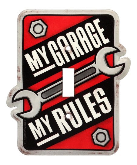 Red My Garage Rules Metal Light Switch Plate