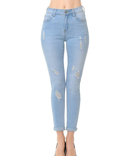 7a108694384 Wax Jean Light Blue High-Rise Rolled-Cuff Skinny Jeans - Juniors ...
