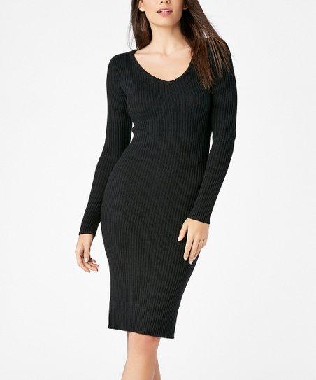 d10cdc0b9ac1 JustFab Black Zip-Back Ribbed Bodycon Dress - Women | Zulily