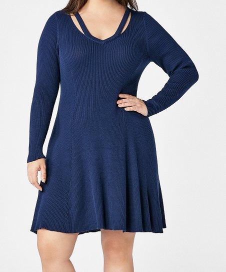 e8dc1b427a1 JustFab Indigo Cutout Fit   Flare Sweater Dress - Plus