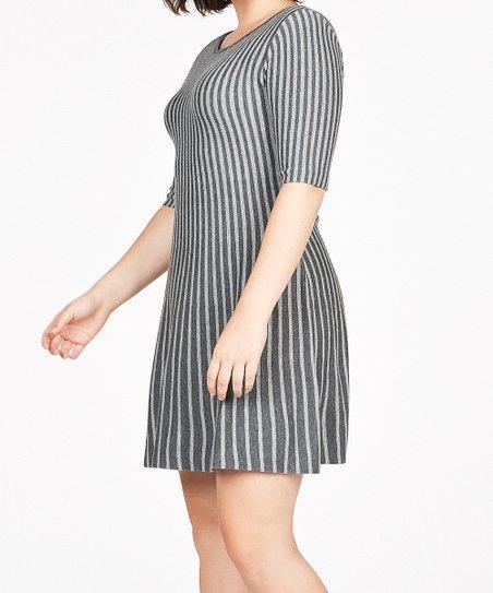 3936b5cf771 JustFab Dark   Light Gray Stripe Fit   Flare Sweater Dress - Plus ...