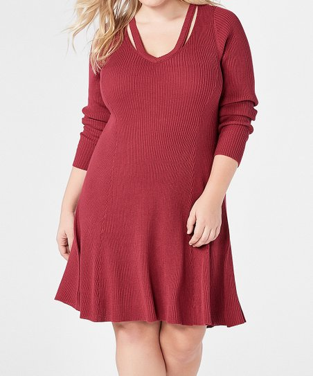 9209578f38d love this product Red Velvet Cutout Fit   Flare Sweater Dress - Plus