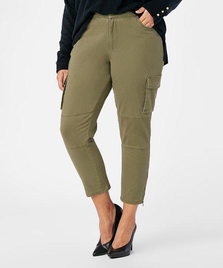 1d0de32774 JustFab Dark Olive Crop Cargo Pants - Plus