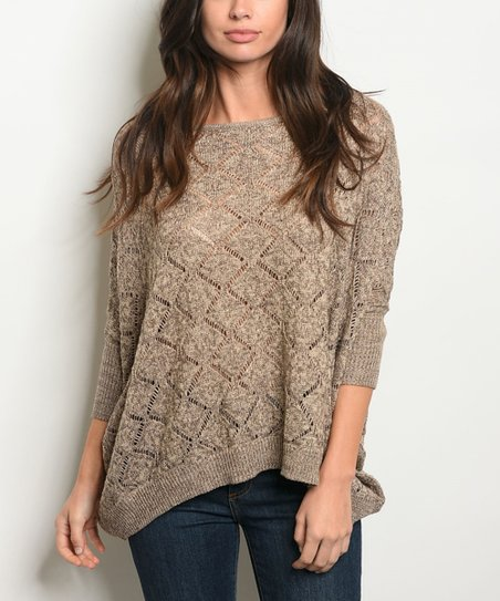 Taupe Brown Scoop Neck Pullover Sweater Women Zulily