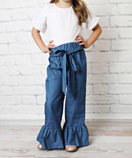 6797c92c26 love this product Blue Ruffle-Trim Tie-Waist Denim Pants - Toddler & Girls