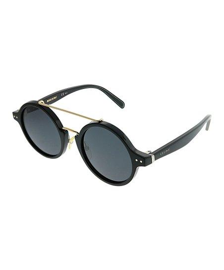 83527082757 love this product Black   Goldtone Double-Bridge Round Sunglasses - Women