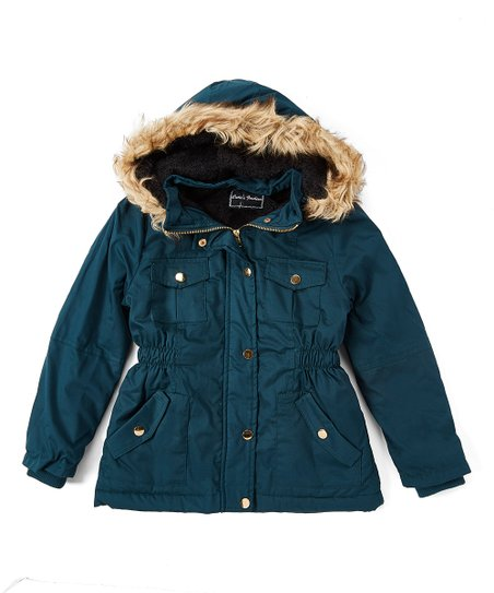 3d96fc305b8 Cuties Fashions Dark Green Faux Fur Hooded Coat - Girls | Zulily