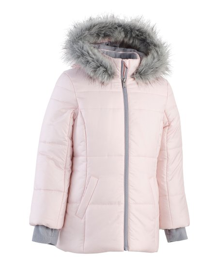 30ed043625 love this product Soft Pink Faux Fur Logo Sport Zip-Up Puffer Jacket -  Toddler