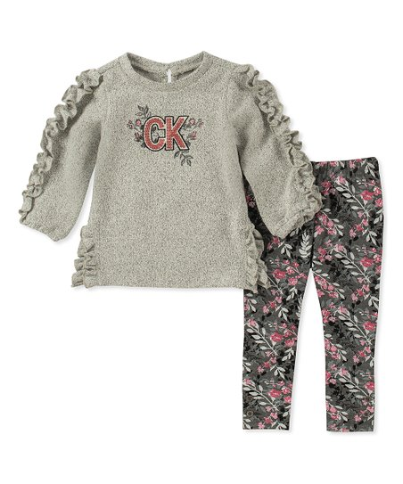 Calvin Klein Jeans Gray Floral Ruffle Pullover   Floral Leggings ... 11bde0c0ec