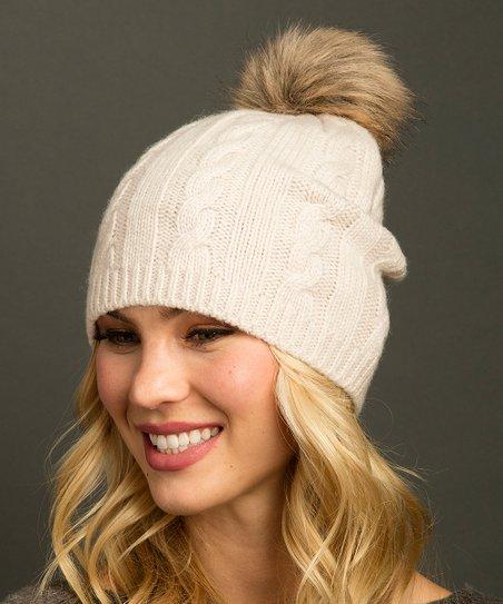 Lemon Legwear Cream Cable Knit Pom-Accent Beanie - Women  16e603041