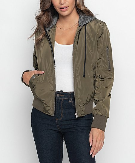 love this product Olive Hooded Bomber Jacket - Women f4da98e716cb