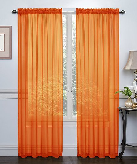 Love This Product Orange Crystal Sheer Curtain Panel Set Of Two