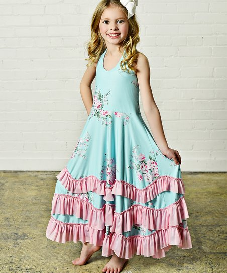 7a2dea7b692 love this product Pink   Aqua Floral Ruffle Maxi Dress - Toddler   Girls