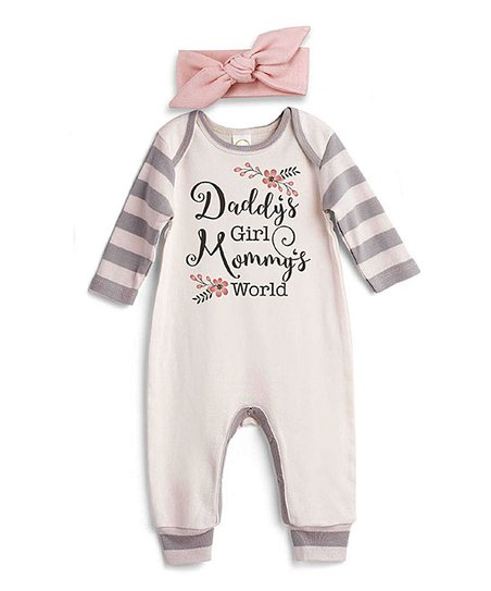 5e82ae798d4 love this product Ivory   Gray Stripe  Daddy s Girl Mommy s World  Playsuit    - Newborn   Infant