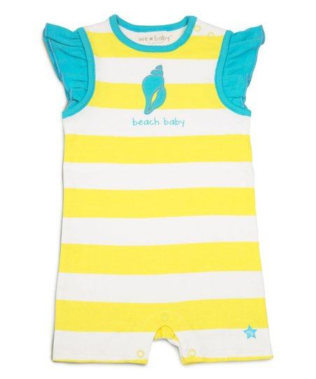 c6179544d224 love this product Yellow   White Stripe  Beach Baby  Angel-Sleeve Romper -  Infant