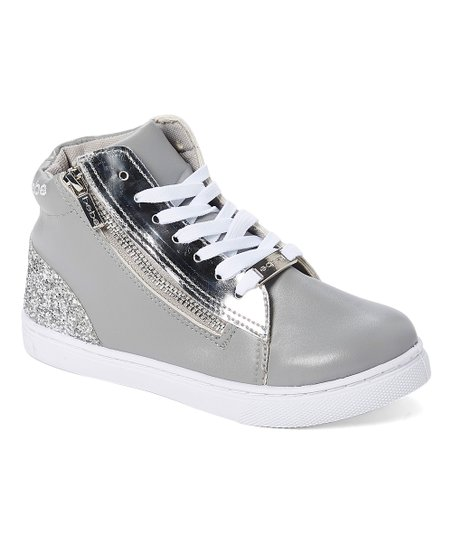 e6330dbb51 love this product Gray & Silver Metallic Side-Zipper Hi-Top Sneaker - Girls