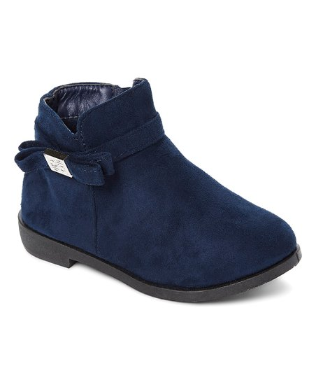 a54e67484742 love this product Navy   Silver Logo Bow-Accent Ankle Boot - Girls