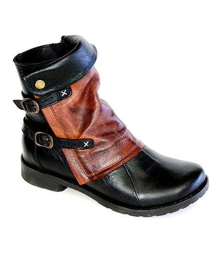 dfaaecccd3533 love this product Black & Brown Strap-Accent Leather Ankle Boot - Women