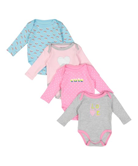 69a2dbec23 love this product Pink  Love  Four-Piece Long-Sleeve Bodysuit Set - Infant