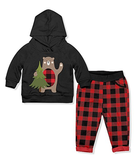 7b0a4e38 PeppyMini Black Bear Hoodie & Pants - Infant & Toddler