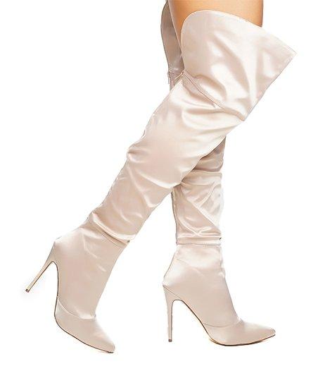 bbc39b06abd Jacobies Footwear Beige Satin Yachel Over-the-Knee Boot - Women