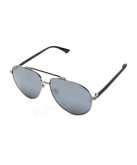 32fff04381767 love this product Ruthenium Black   Silver Aviator Sunglasses