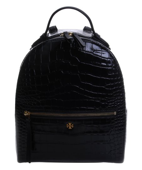 a2aec200ff8 Tory Burch Black Croc-Embossed Leather Mini Backpack