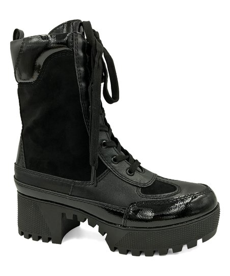 c83b94481304 Bamboo Black Contrast Powerful Combat Boot - Women