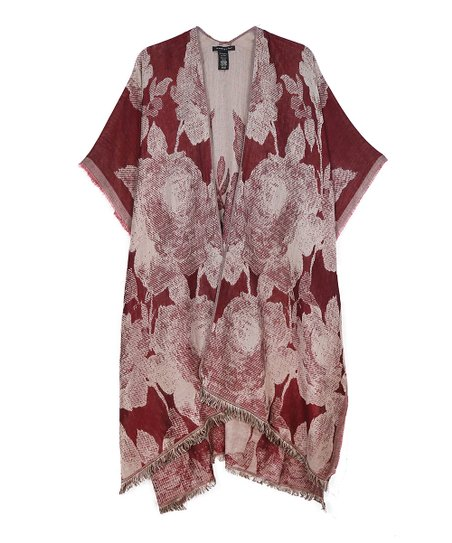 50f23a55b3 Do Everything In Love Burgundy & White Floral Fringe Kimono   Zulily