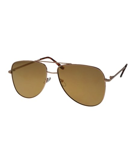 V by Vye Goldtone   Gold Mirror Aviator Sunglasses  a2a301abef0